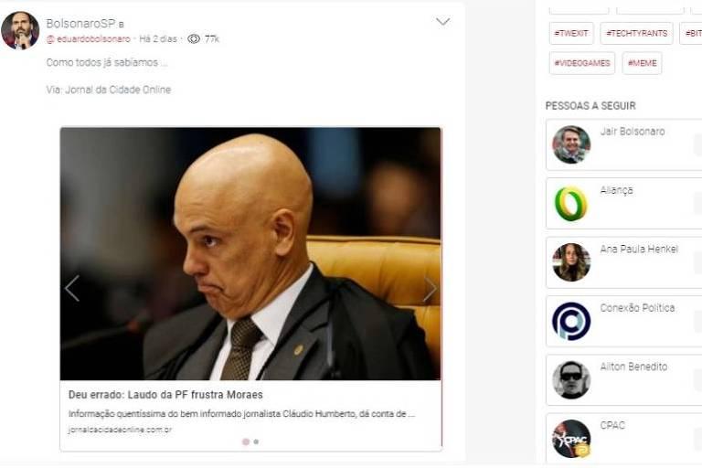 Em postagem na rede social Parler, o deputado Eduardo Bolsonaro ataca o ministro do STF Alexandre de Moraes