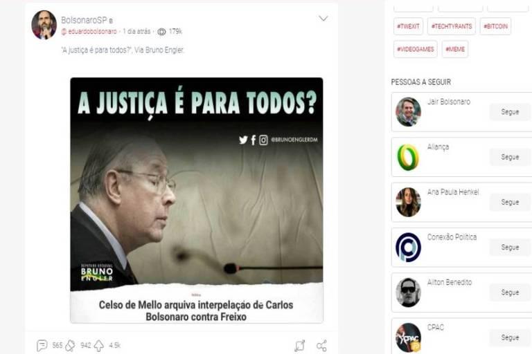 Postagem do deputado Eduardo Bolsonaro na rede social Parler contra o ministro do STF Celso de Mello