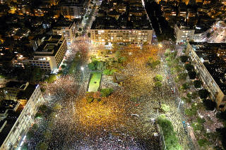 A general view shows Rabin square as Israelis protest against the government's response to the financial fallout of the coronavirus disease (COVID- 19) crisis in Tel Aviv