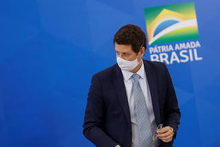 Brazil's Environment Minister Ricardo Salles attends a news conference at the Planalto Palace in Brasilia