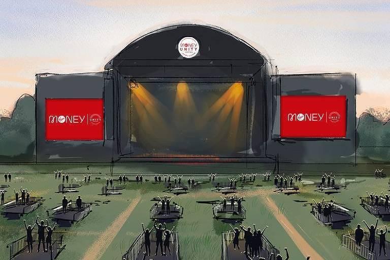 """Arena Virgin Money Unity, que está sendo construída em Newcastle, na Inglaterra, e é definida por seus criadores como """"o primeiro espaço de música socialmente à distância do Reino Unido"""". Ilustração mostra arena dividida em pequenos núcleos de espectadores"""