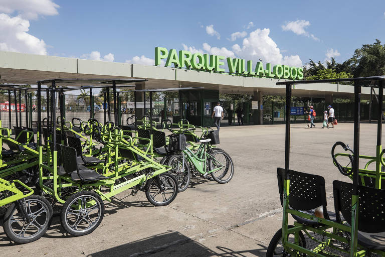 Aluguel de bicicleta do parque Villa-Lobos; hora sai por R$ 10