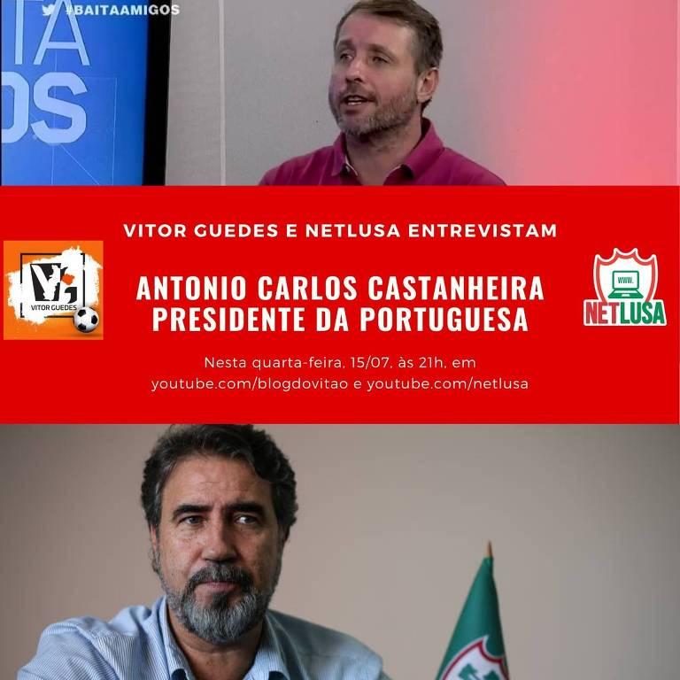 O jornalista Vitor Guedes entrevista o presidente da Lusa, Antonio Carlos Castanheira, nesta quarta-feira (15)