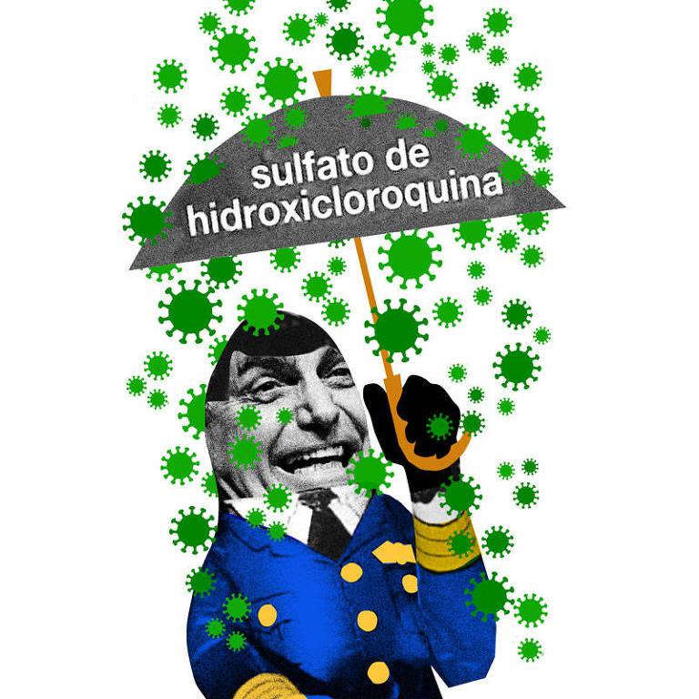 """Colagem com a foto de Jair Bolsonaro sorrindo e segurando um guarda-chuva, no qual está escrito """"sulfato de hidroxicloroquina"""". Há vários vírus caindo no guarda-chuva e na cabeça do Bolsonaro também"""