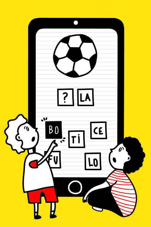 Ilustração com duas crianças usando um celular gigante