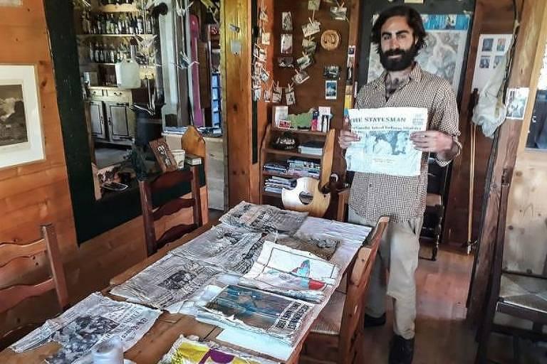 Timothee Mottin quer expor os jornais em seu restaurante em Chamonix