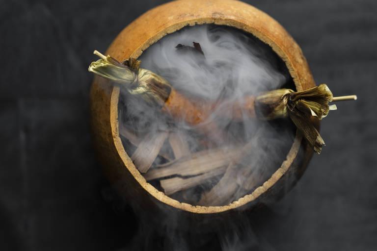 Prato do Pujol que simula uma espiga de milho com maionese de chile costeño e formigas