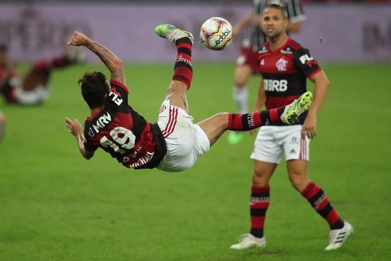 Jogadores do Flamengo na final do campeonato carioca