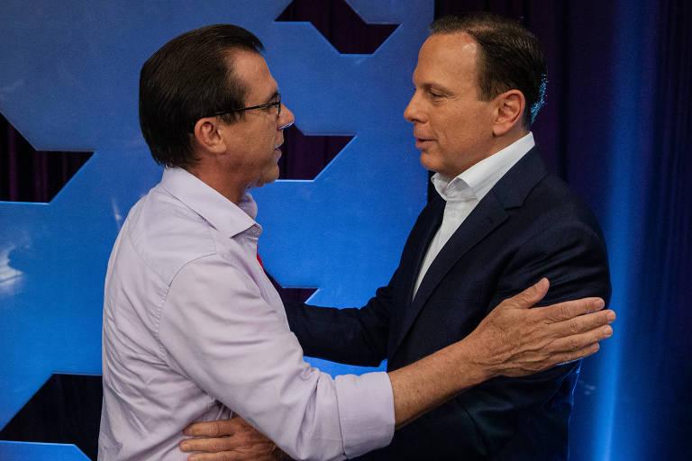 Luiz Marinho e Doria se abraçando