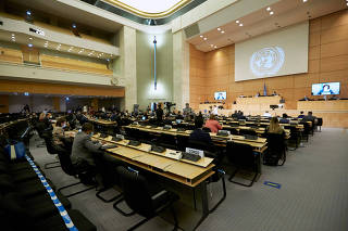 FILE PHOTO: Delegates attend the Human Rights Council in Geneva