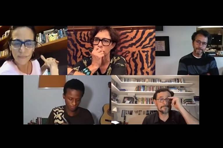 Da esq. para dir. em sentido horário, Mariana Lima, Andréa Beltrão, Marcos Palmeira, William Costa e Enrique Díaz