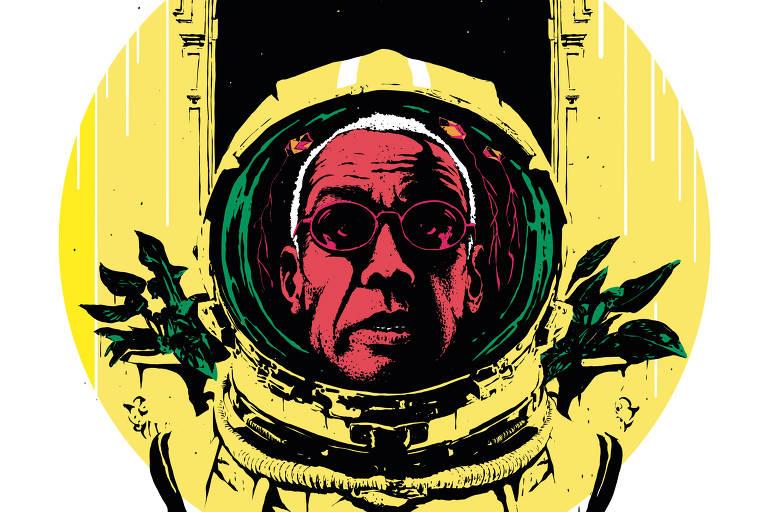 Na ilustração, o músico Jorge Ben Jor usa uma roupa de astronauta. Ao fundo, detalhes da arquitetura do Copacabana Palace