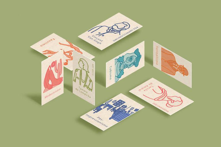 Cartas do jogo com ilustrações de pintores e pinturas