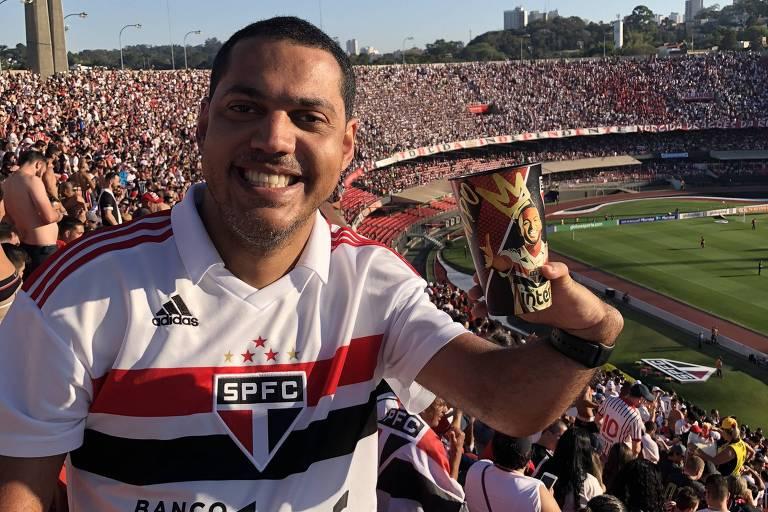 Eduardo Bonazzi, torcedor do São Paulo, no Morumbi