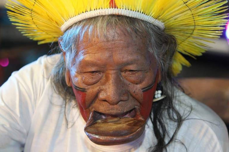 Cacique Raoni, líder da etnia Caiapó, em evento na Bahia