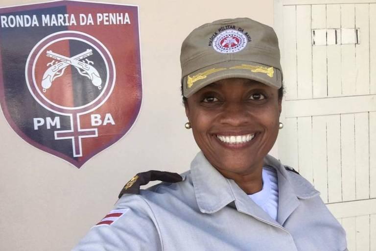 A major Denice Santiago, pré-candidata pelo PT à Prefeitura de Salvador nas eleições municipais de 2020.
