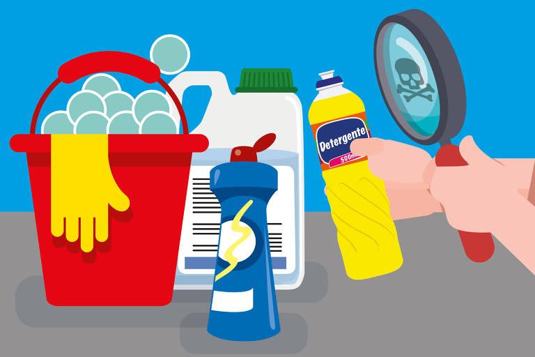 ilustração com produtos de limpeza