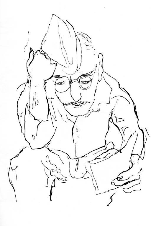 Pracinha lendo em desenho de Carlos Scliar