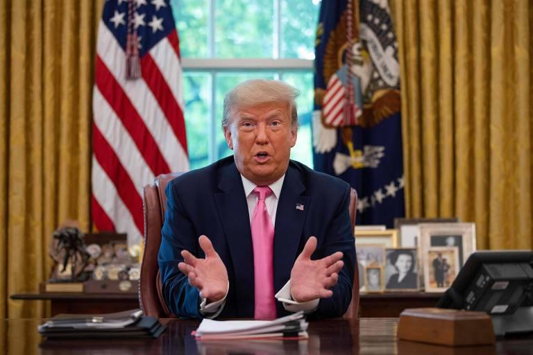 O presidente Donald Trump durante evento na Casa Branca nesta segunda-feira (20)