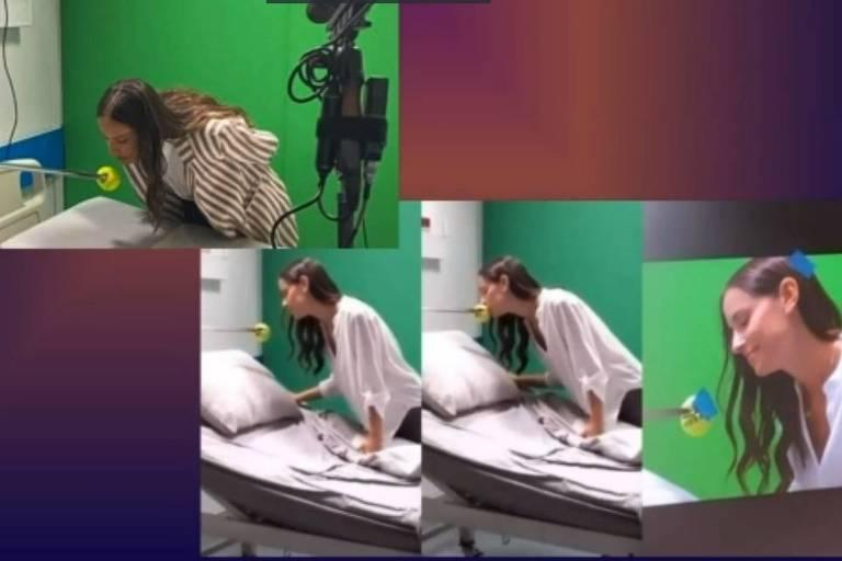 Simulação de cena de beijo