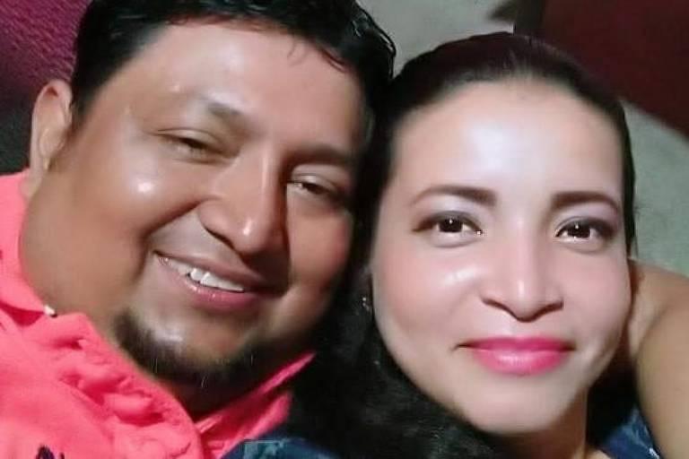 Sylvia Guzmán com o marido, Félix Merchán, vítima da Covid-19