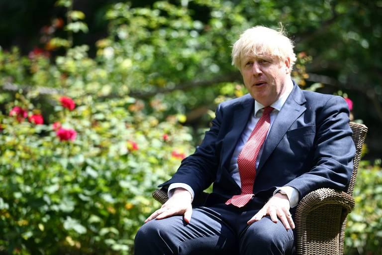 O primeiro-ministro britânico, Boris Johnson, durante encontro com o secretário de Estado dos EUA, Mike Pompeo, em Londres