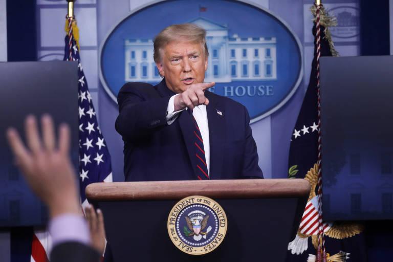 O presidente dos EUA, Donald Trump, durante entrevista coletiva na Casa Branca, em Washington