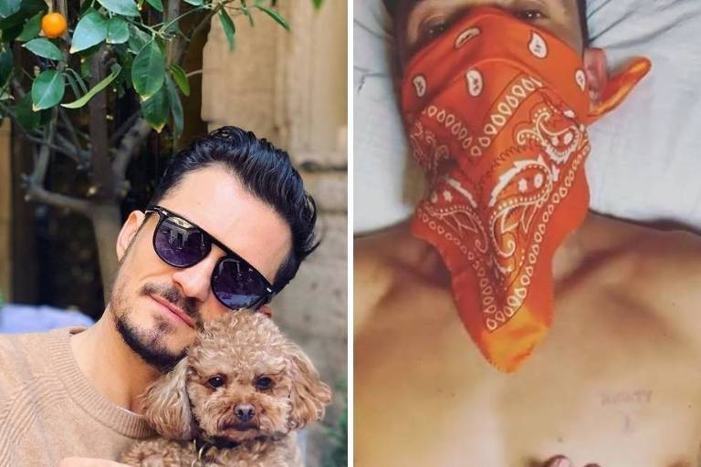 Ator Orlando Bloom homenageia cachorro Migthy com tatuagem no peito (lado esquerdo)