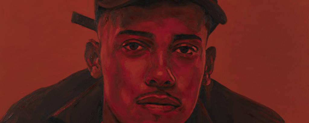 Retrato do MC Poze do Rodo realizado pelo artista visual Eder Oliveira, conhecido por retratar jovens encarcerados no país