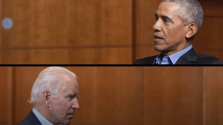 Joe Biden (esq.) e Barack Obama no vídeo chamado 'Uma conversa com distanciamento social', cuja prévia foi divulgada nesta quarta (22)