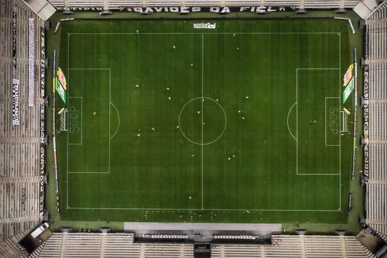 Vista aérea do estádio do Corinthians durante o clássico contra o Palmeiras