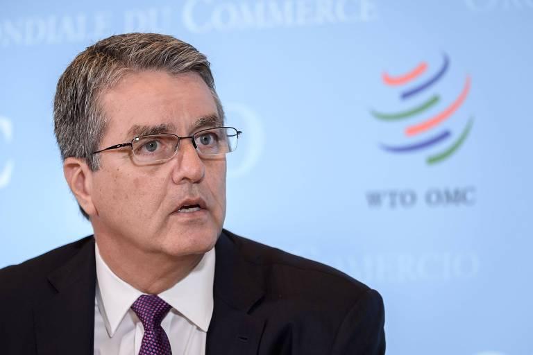 Diretor-geral da OMC, Roberto Azevêdo, em conferência nesta quinta-feira