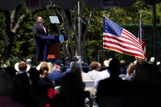 U.S. Secretary of State Mike Pompeo speaks at the Richard Nixon Presidential Library, in Yorba Linda
