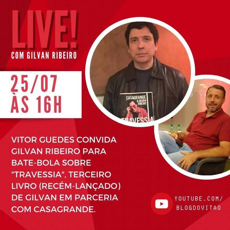 Reprodução do convite da entrevista do colunista Vitor Guedes ao jornalista Gilvan Ribeiro