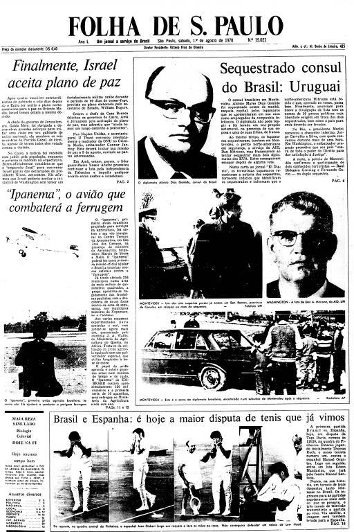 Primeira Página da Folha  de 1º de agosto de 1970
