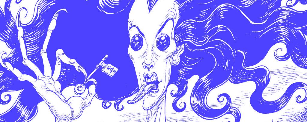 mulher com cabelo arrepiado, botão no lugar do olho aproxima língua de chave