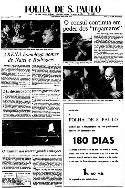 Primeira Página da Folha de 2 de agosto de 1970