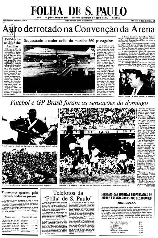 Primeira Página da Folha de 3 de agosto de 1970