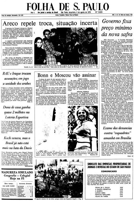 Primeira Página da Folha de 4 de agosto de 1970