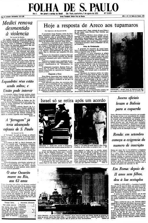 Primeira Página da Folha de 5 de agosto de 1970