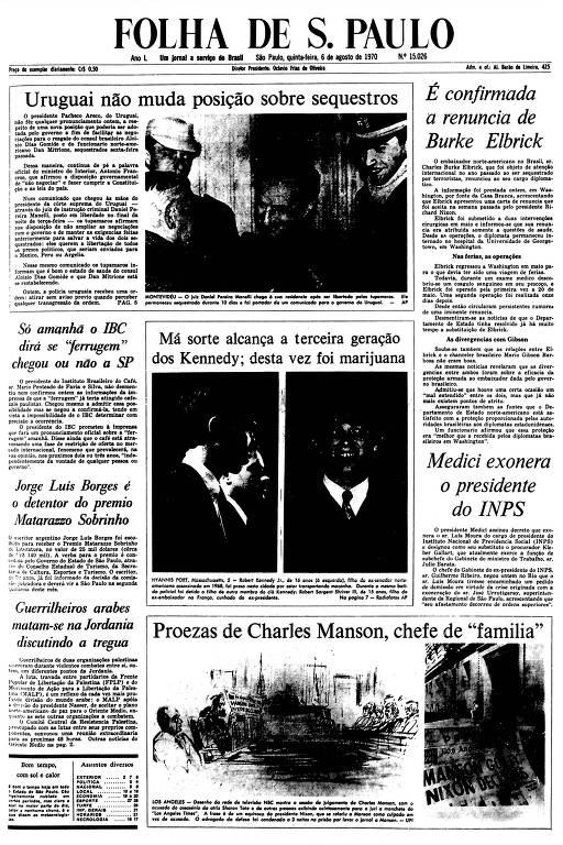Primeira Página da Folha de 6 de agosto de 1970