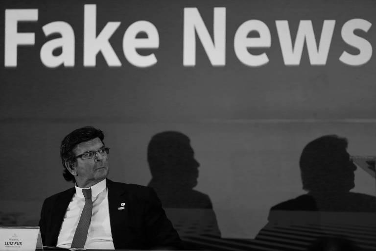 Luiz Fux em evento promovido pela ABRATEL sobre fake news, no Hotel Royal Tulip
