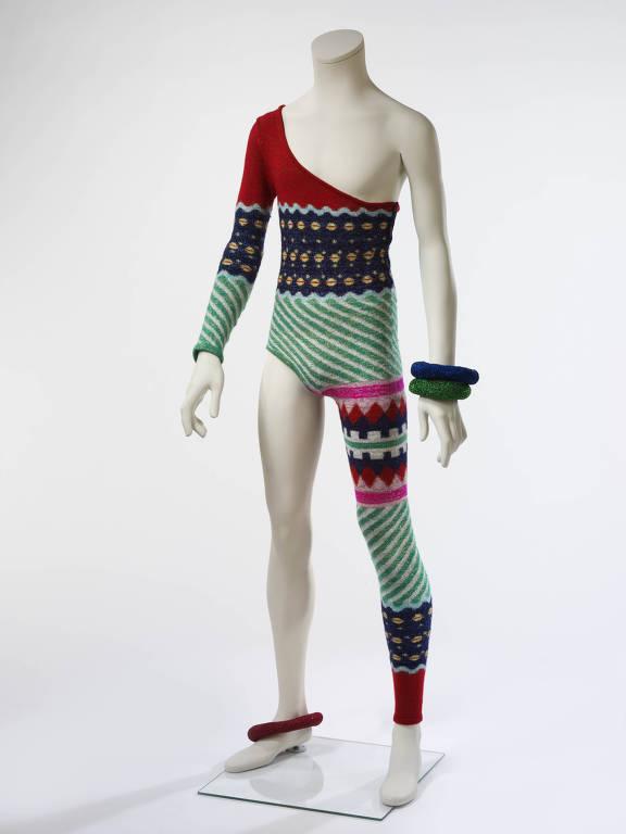 Collant de malha assimétrico desenhado por Kansai Yamamoto para turnê de David Bowie