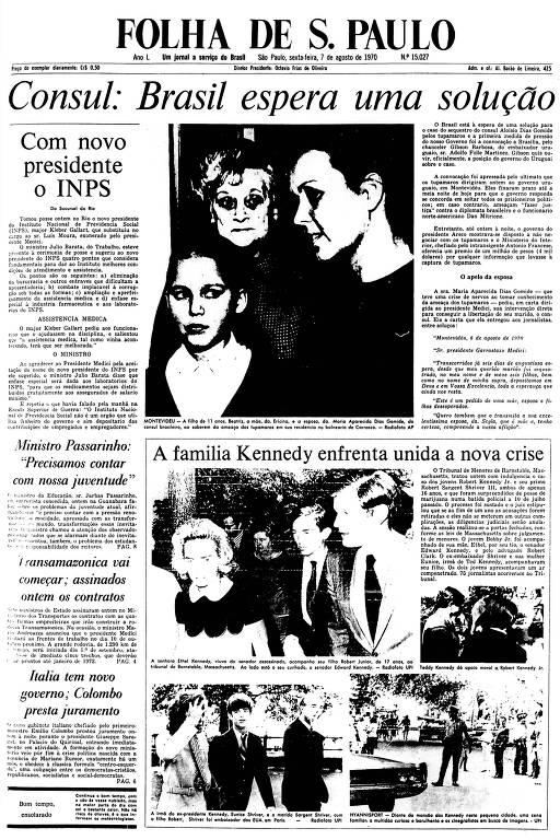 Primeira Página da Folha de 7 de agosto de 1970