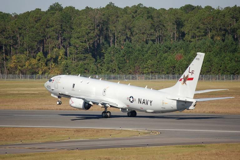 Um avião P-8A Poseidon da Marinha americana, modelo igual ao que voou perto da China no domingo