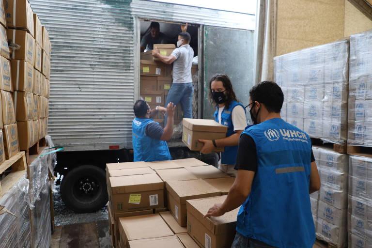 Doações são entregues ao armazém do ACNUR em Boa Vista