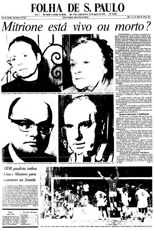 Primeira Página da Folha de 10 de agosto de 1970