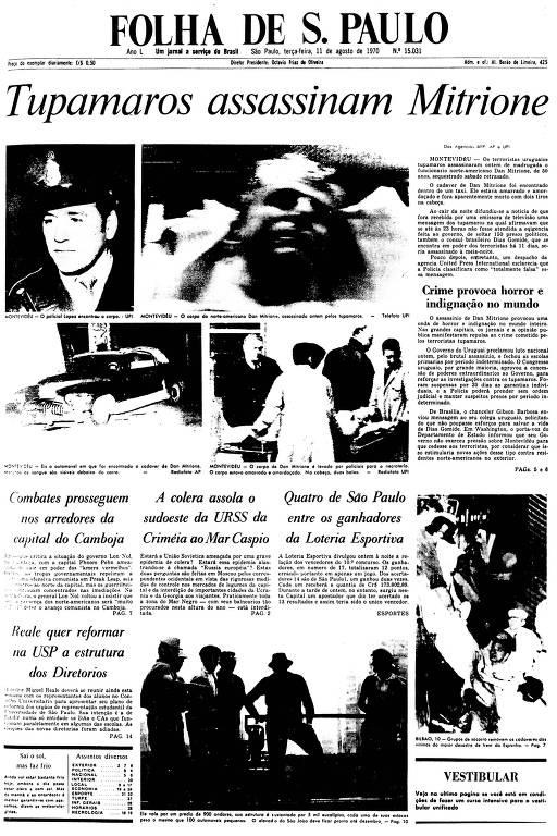 Primeira Página  da Folha de 11 de agosto de 1970