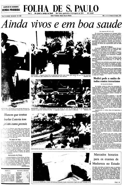 Primeira Página da Folha de 12 de agosto de 1970