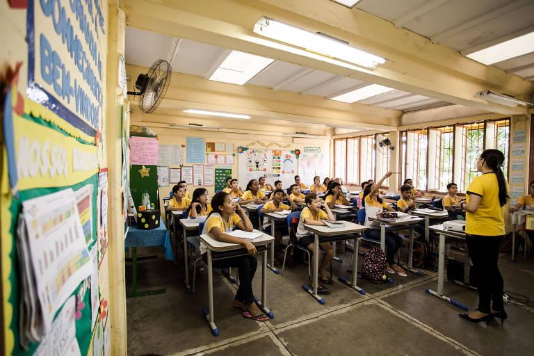 A escola Caic Raimundo Pimentel Gomes, em Sobral (CE), cidade que teve o maior crescimento no índice de desenvolvimento (Ideb) de seus alunos